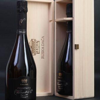 Šampanjec Ruska dača v leseni darilni škatli
