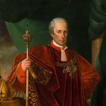 Avstrijski cesar Franc I., gostitelj Ljubljanskega kongresa leta 1821. Slika visi v pritličju Ruske dače.