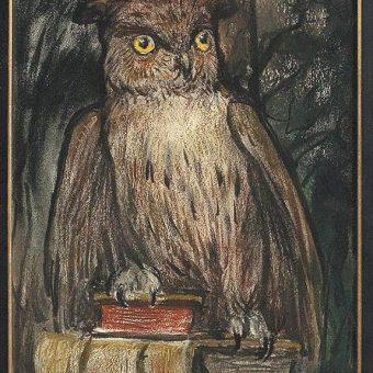 Sova, simbol znanja, je upodobljena na spodnjem desnem delu slike Svete Helene.