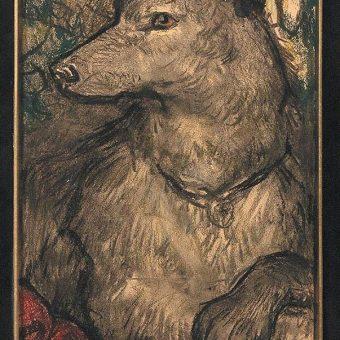 Pes, simbol zvestobe, je upodobljen na spodnjem levem delu slike Svete Helene.
