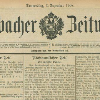 Časnik Laibacher Zeitung, kjer je bil svečani banket podrobno opisan.