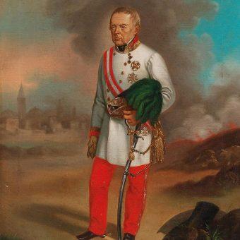 Slika feldmaršala Radetzkega v modri, cesarski sobi na Ruski dači.