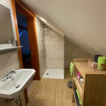 Zasebna kopalnica s tušem v mansardni spalnici v Ruski dači.