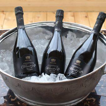 Šampanjec Ruska dača prijetno ohlajen na ledu v posebni posodi na letnem vrtu Ruske dače